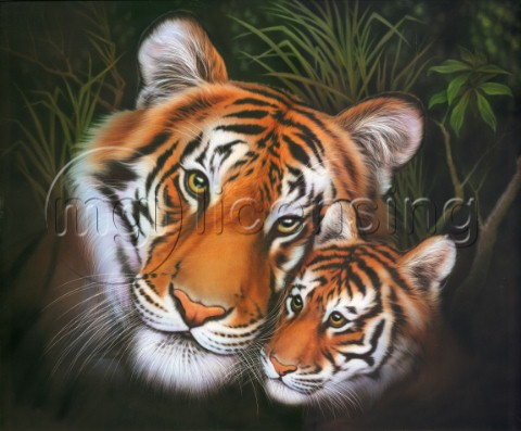 Mother tiger and cub
