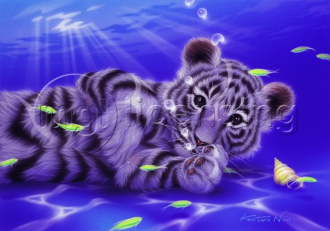 Mother Ocean  white tiger cub
