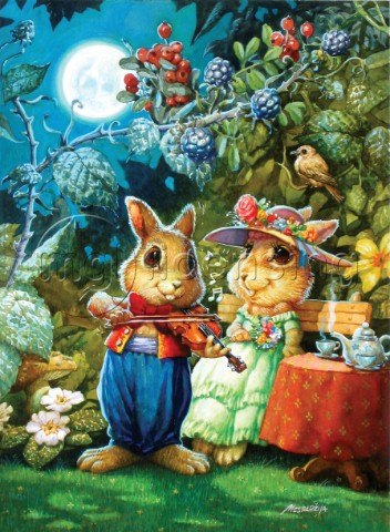 Rabbit playing the violin