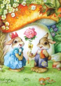 Rabbits and rose