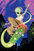 Alien skateboarder