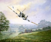 Spitfire IX low over German armour