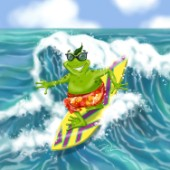 Vacation frog surfing