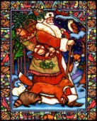 Stained Glass Window Santa