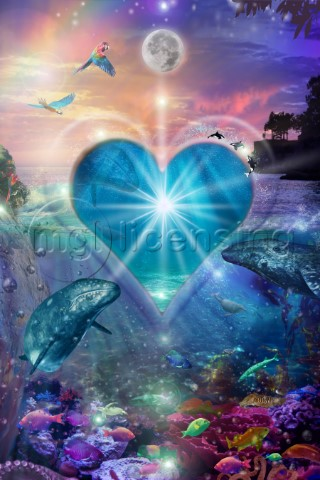 Seascape with bright colors underwater view and sunset heart love spirit angels goddess  new age age