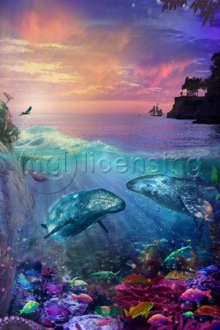 Seascape with bright colors underwater view and sunset