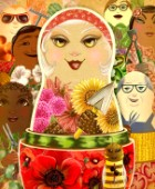 Summer cover for GreenPrints magazine using nesting dolls as symbolism for the abundance of summer gardening.