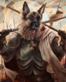 Joan of Bark is a german shepherd dressed as Joan of Arc holding a sword.  Animals From History Illustration