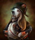 Basset hound wearing general uniform posing as Napoleon with octopus epaulettes.  Character from Animals From History