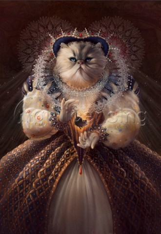 White cat dressed as queen dangling a mouse  Character from Animals from History