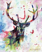Abstract Stag in multicolour. Oil on canvas