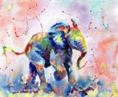 African elephant baby painted in oil paints on canvas.