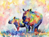 Rhino and baby in multicolour painted in oil paints on canavs