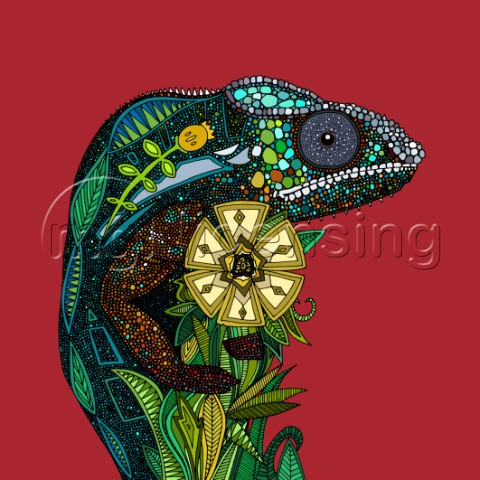 Illustrated chameleon on red