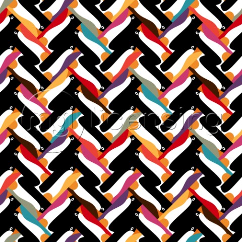 repeating pattern  penguin herringbone