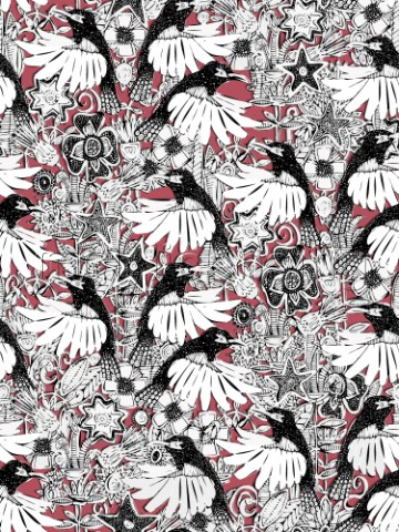 repeating pattern  illustrated hummingbird floral