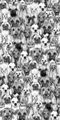 repeating patter ~ ink drawn Basset, Boston Terrier, Boxer, Corgi, Dalmation, French Bulldog, Poodle, Pug, Retriever and Shih Tzu.