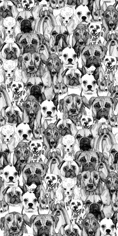 repeating patter  ink drawn Basset Boston Terrier Boxer Corgi Dalmation French Bulldog Poodle Pug Re