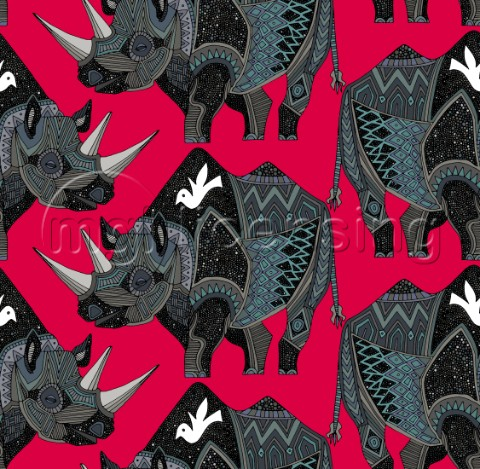 repeating pattern  tribal black rhino pattern