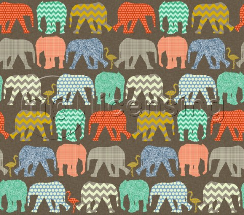 geometric pattern filled elephants and flamingos on linen texture no pink
