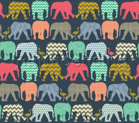 repeating pattern  geo baby elephants and flamingos