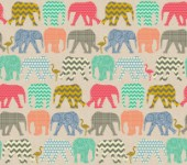 repeating pattern ~ geo baby elephants and flamingos on linen texture background