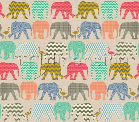 repeating pattern  geo baby elephants and flamingos on linen texture background