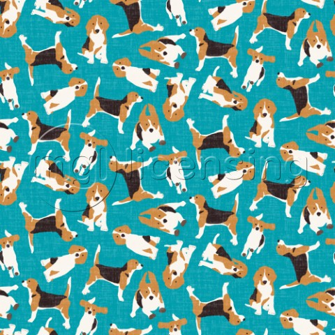 repeating pattern  scattered beagles on blue