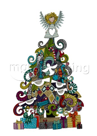 illustrated Christmas tree gifts and angel