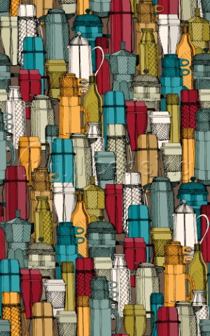 repeating pattern  retro illustrated coffee flasks and cups
