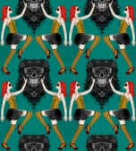 repeating pattern ~ pin up girls and skulls