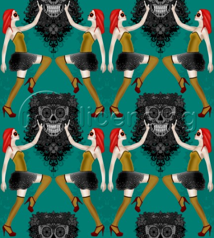 repeating pattern  pin up girls and skulls