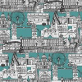 repeating pattern ~ Ink drawn illustrations ~ including The Tower of London, London Eye, Palace of Westminster, Tower Bridge, Buckingham Palace, St Pauls Cathedral, National Gallery, Globe Theatre, London Underground station, the Shard and a London bus.