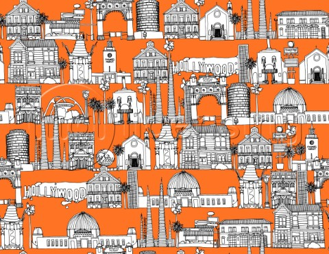 repeating pattern  Ink illustrated hotchpotch of Los Angeles city landmarks monuments and buildings