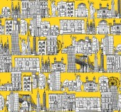 repeating pattern ~ Ink illustrated hotchpotch of New York city landmarks, monuments and buildings