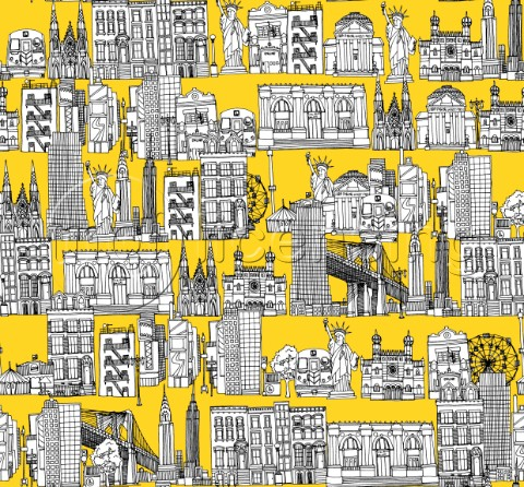 repeating pattern  Ink illustrated hotchpotch of New York city landmarks monuments and buildings