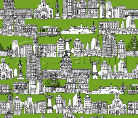 repeating pattern  Ink illustrated hotchpotch of San Francisco city landmarks monuments and building