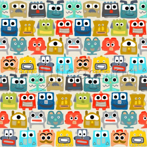 repeating pattern  cute little robots