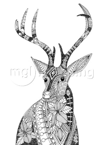 ILLUSTRATED FESTIVE DEER