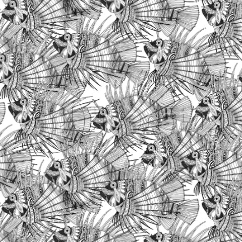illustrated fish  also available as a repeating pattern