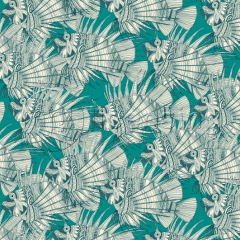 illustrated tropical fish  also available as a repeating pattern