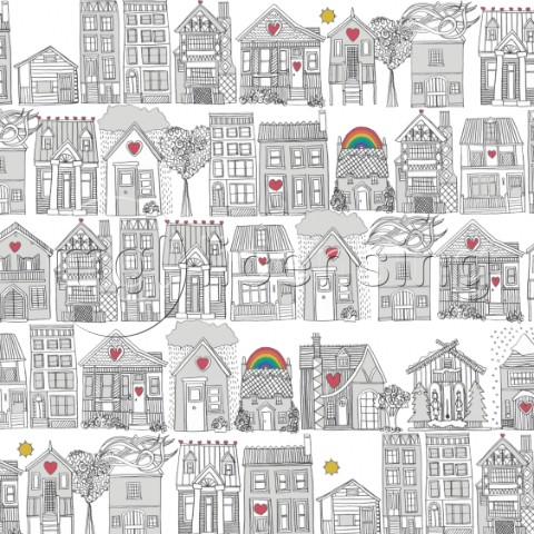pencil drawn housea and weather  also available as a repeating pattern