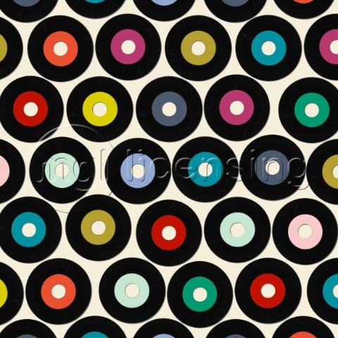 retro vinyl records  repeating pattern also available