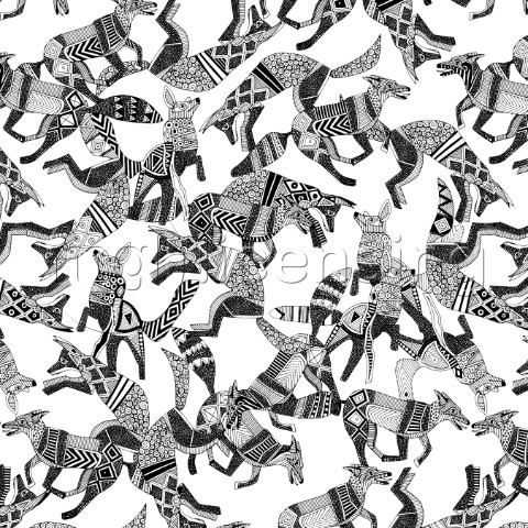 illustrated foxes  also available as a repeating pattern