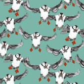 illustrated puffins with sand eels ~ also available as a repeating pattern