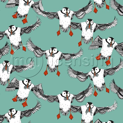 illustrated puffins with sand eels  also available as a repeating pattern
