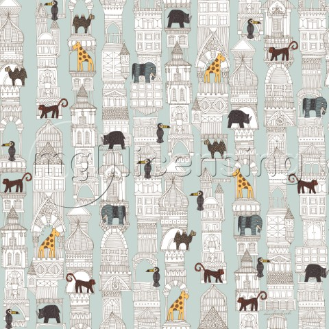 architecture plus animals on silver mint  repeating pattern