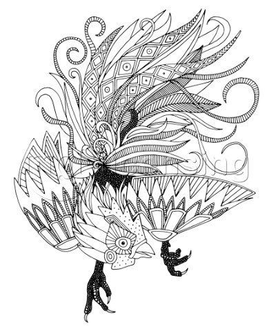Rooster Black and White Outline