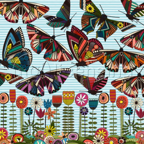 Summer Butterflies and Flowers stripe panel variant 1
