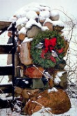 Stone Farm Gate with Chickadees and Christmas Wreath